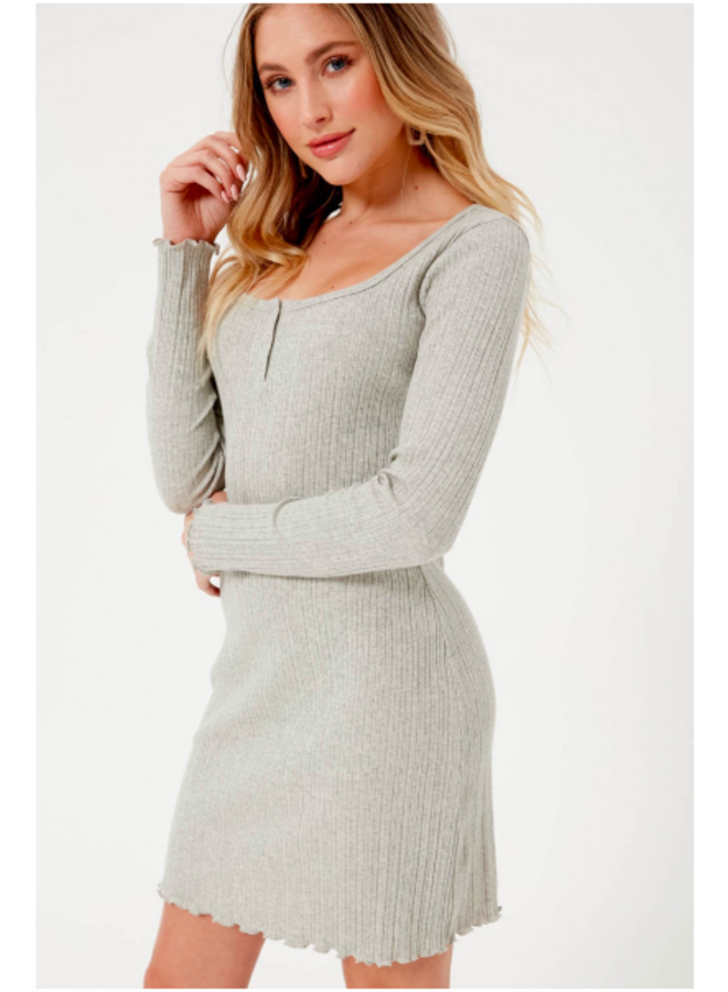 Long Sleeve Ribbed Dress w/ Snaps by Lush - Heather Grey