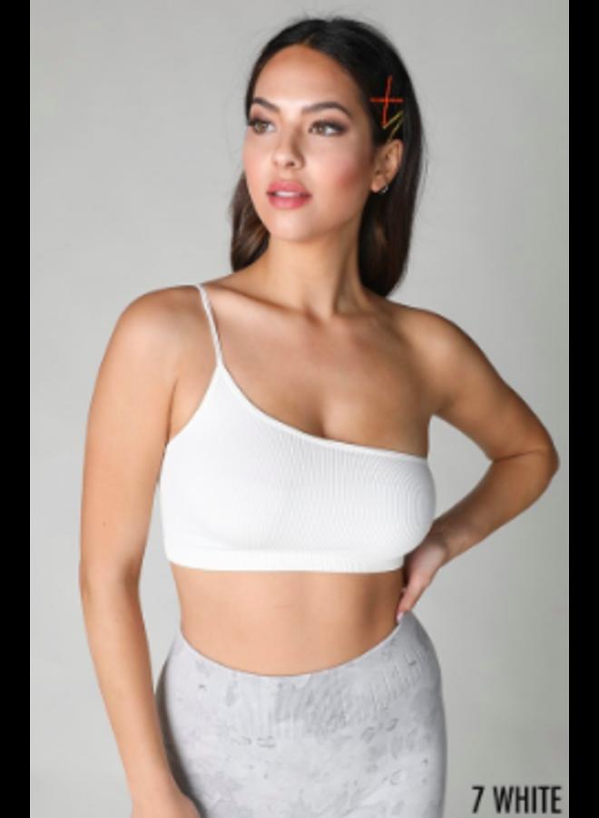 One Shoulder  Crop Top by NikiBiki - White
