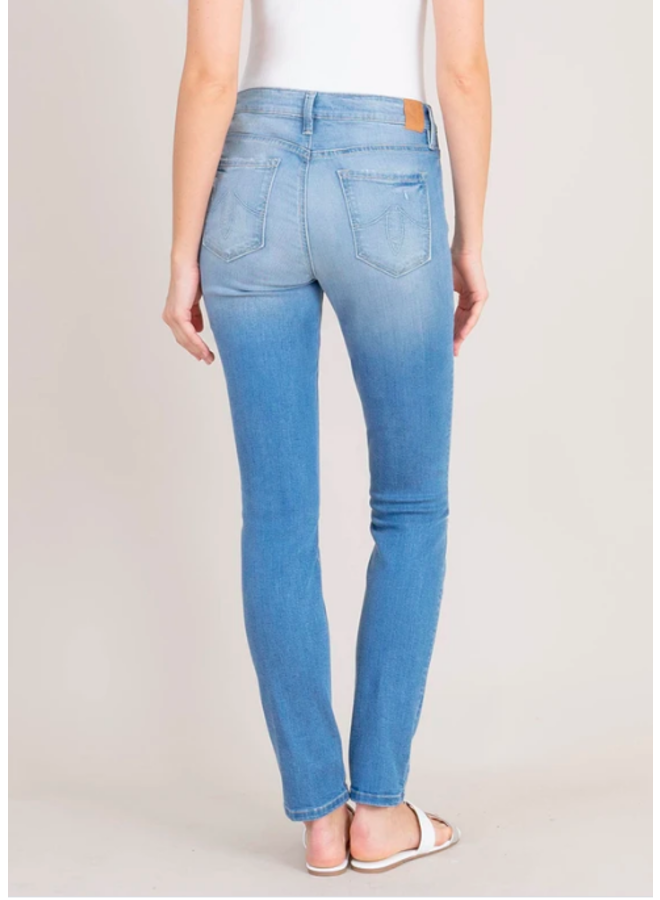 Medium Blue Distressed Knee Liza Mid Rise Skinny Jeans by Level 99