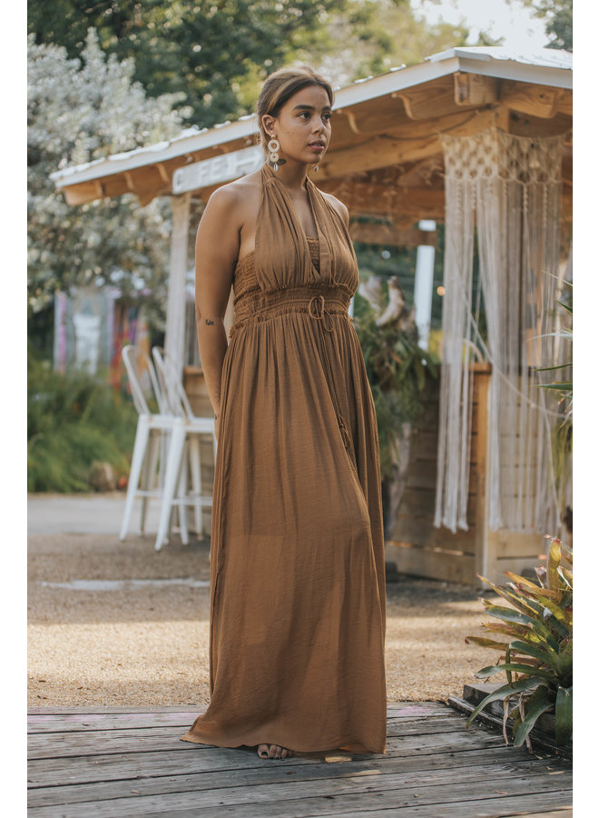 Halter Maxi Dress  Smoked Middle by Wishlist - Gucci Brown