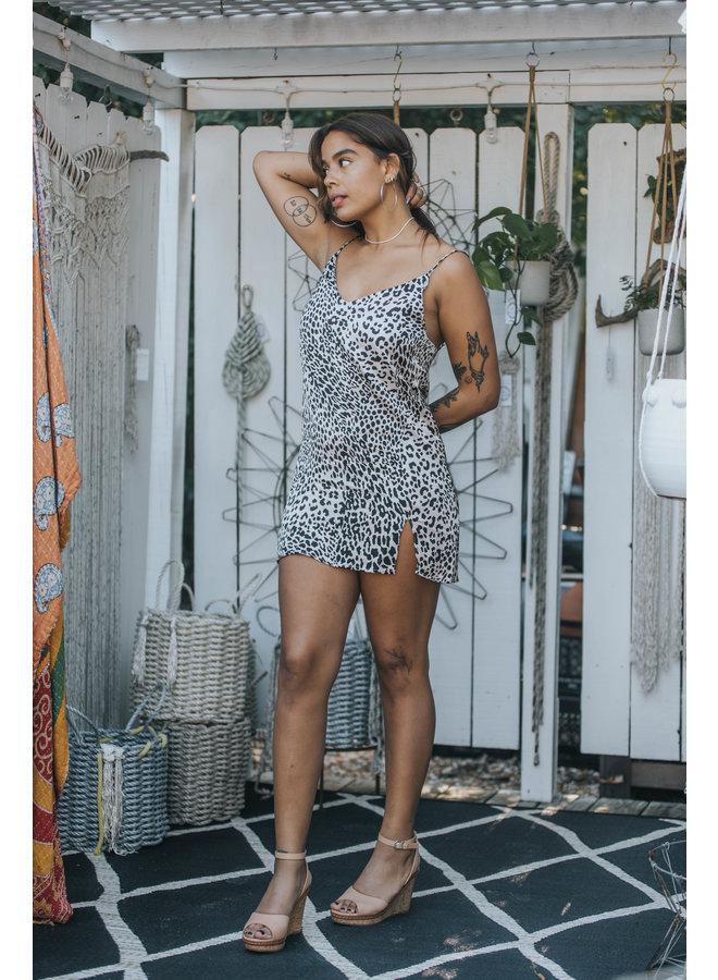 Leopard Mini Slip Dress by Olivaceous - Black & White