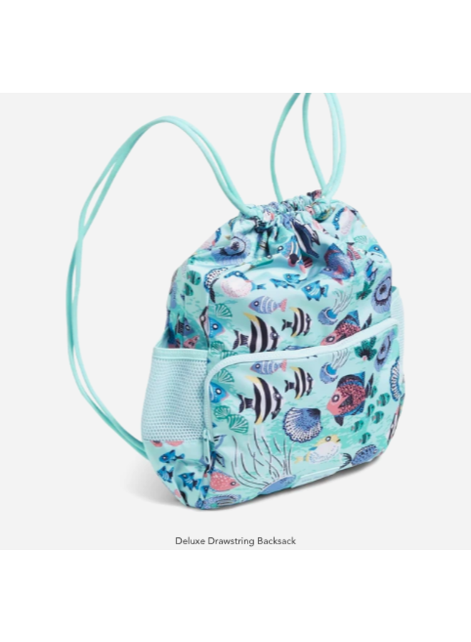 Deluxe Drawstring Backpack - Paisley Wave Fish by Vera Bradley