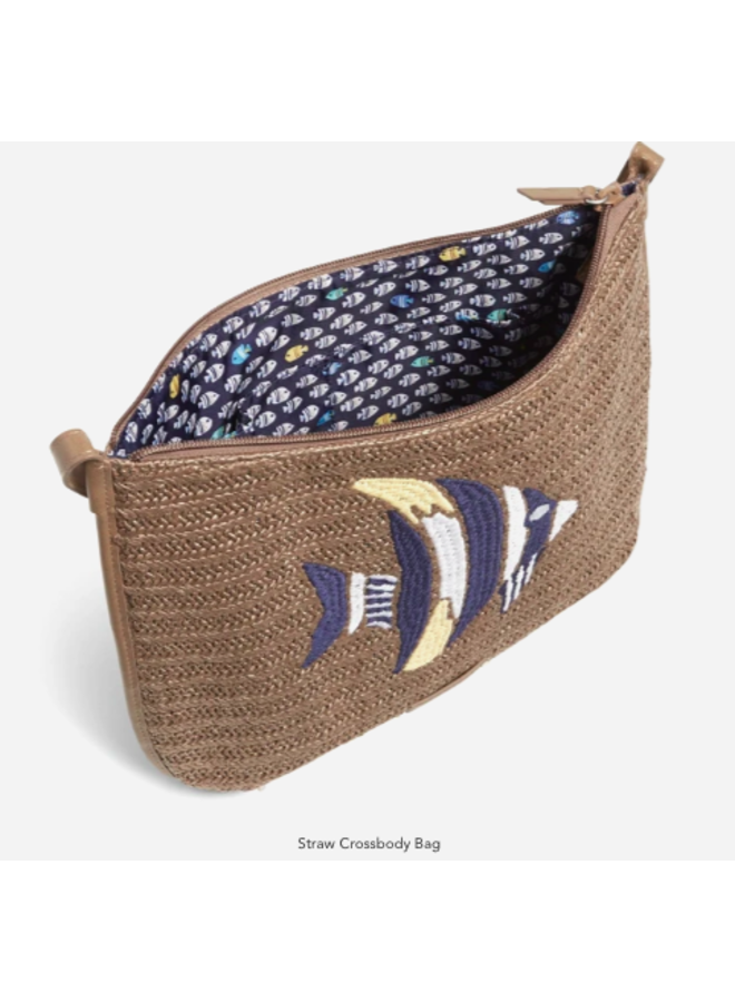 Straw Crossbody Purse - Tan Straw with Angel Fish Embroidery by Vera Bradley