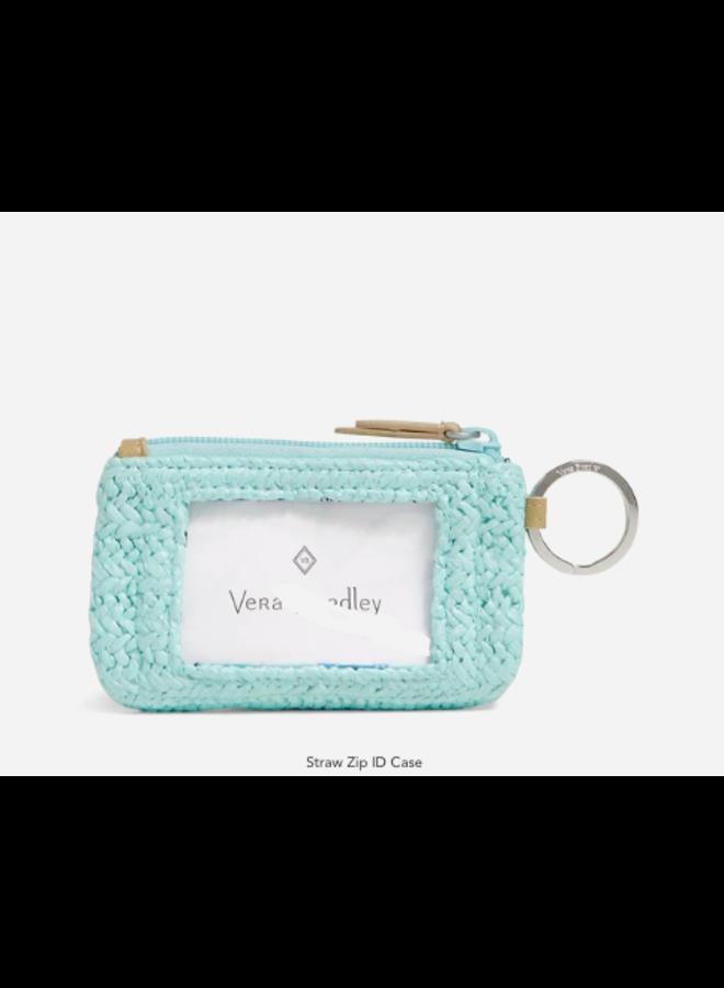 Straw Zip ID Case - Mint Straw with Sea Turtle Embroidery by Vera Bradley