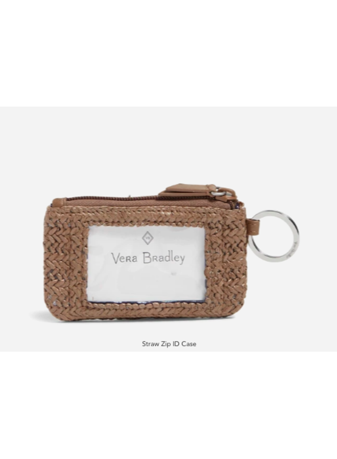 Straw Zip ID Case - Tan Straw with Angel Fish Embroidery by Vera Bradley