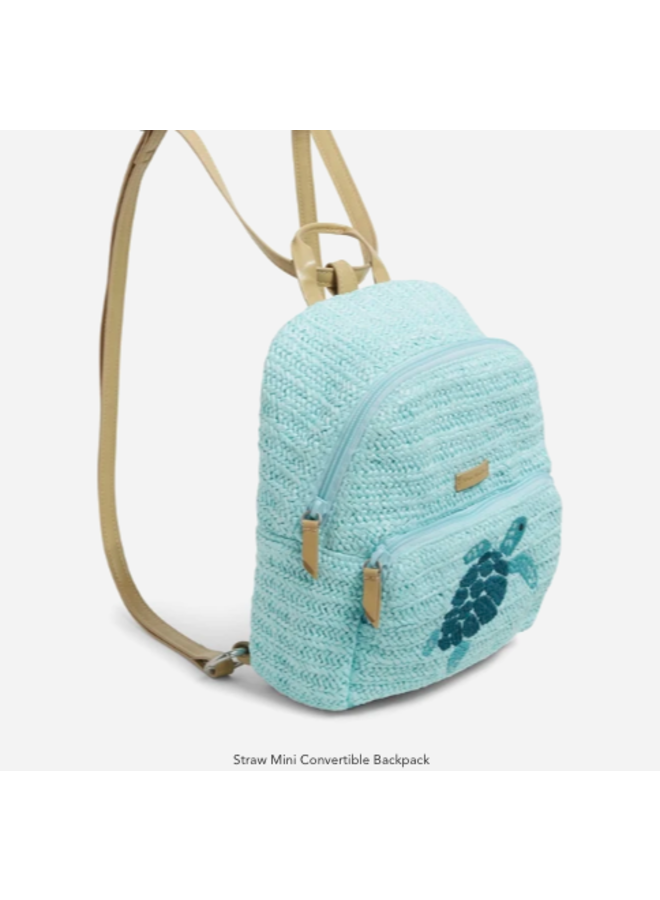 Straw Sea Life Mini Convertible Back Pack - Mint Straw with Sea Turtle Embroidery by Vera Bradley