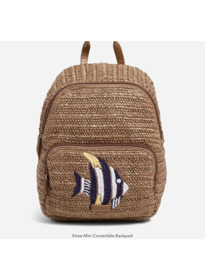 Straw Sea Life Mini Convertible Back Pack - Tan Straw with Angel Fish Embroidery by Vera Bradley