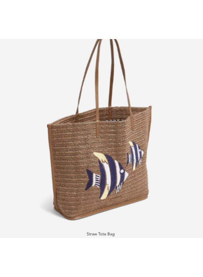 Straw Sea Life Beach Tote - Tan Straw with Angel Fish Embroidery by Vera Bradley