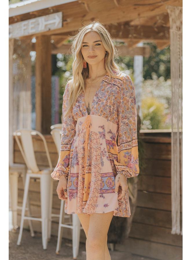 Long Sleeve Paisley - Mixing It Up Mini Dress by Free People - Pink / Orange