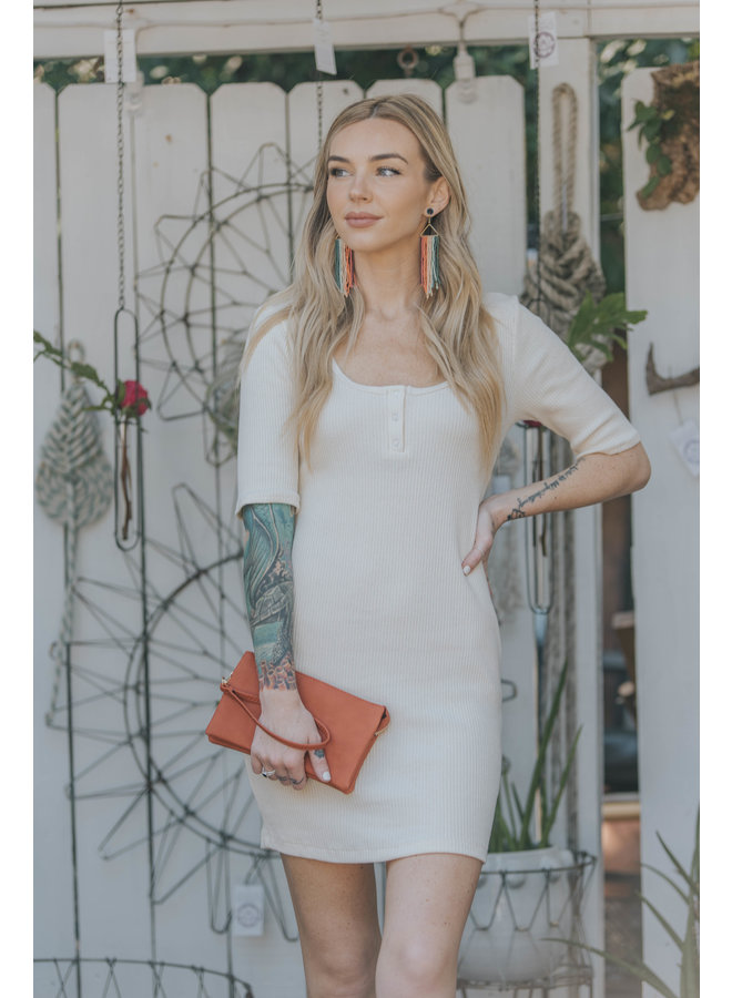 Ribbed 3/4 Sleeve Dress w/ Snaps by Lush - Cream