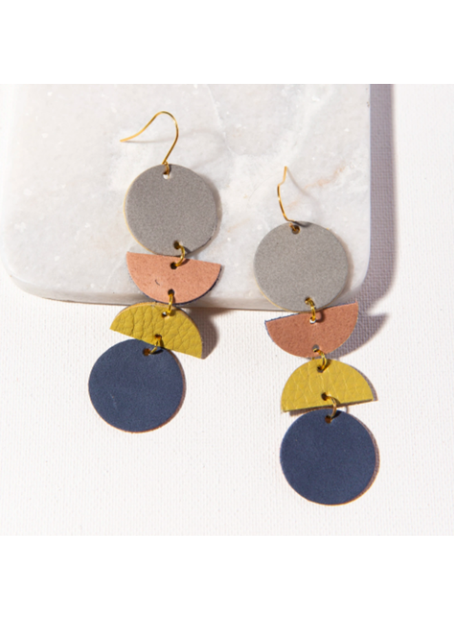 Geo Dangle Leather Earrings - Grey, Blush, Citron, Navy