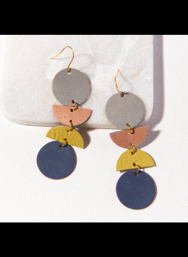 Geo Dangle Leather Earrings - Grey, Blush, Citron, Navy