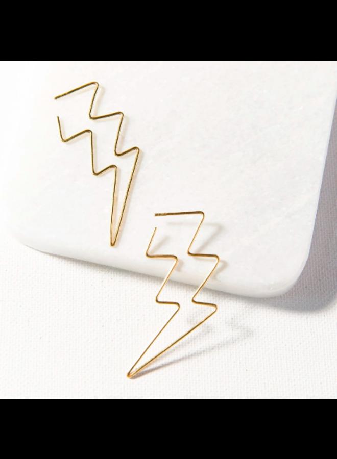 Brass Wire Lightning Hoop Earrings