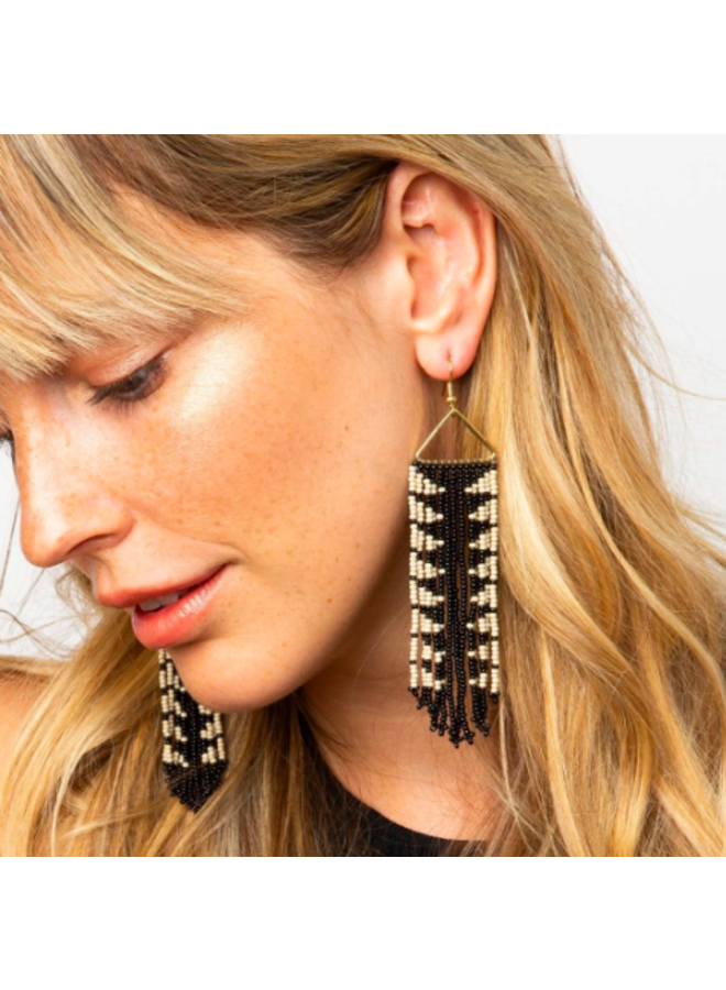 Black & Cream Triangle Fringe Earrings