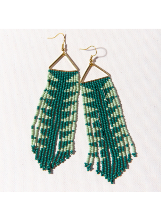 Teal & Mint Triangle Fringe Earrings