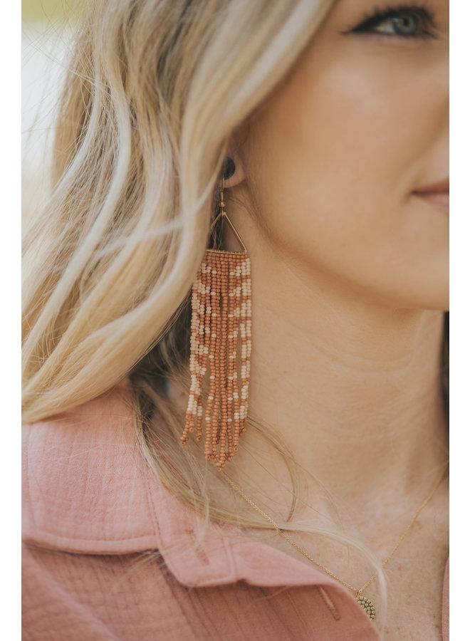 Rust & Peach Triangle Fringe Earrings