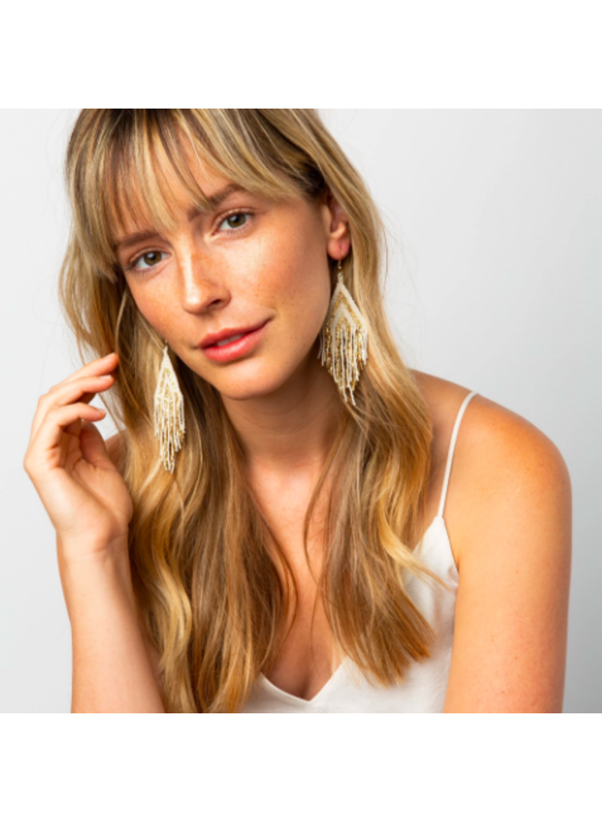 Gold  & Ivory Striped Earrings With Fringe