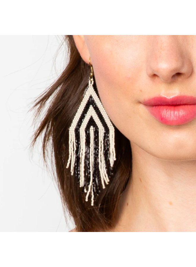 Black & Ivory Striped Earrings With Fringe
