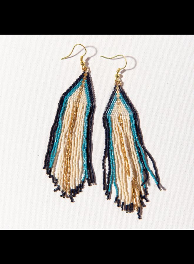 Ivory, Light Blue, Navy, Gold Ombre Stripe Fringe Earrings
