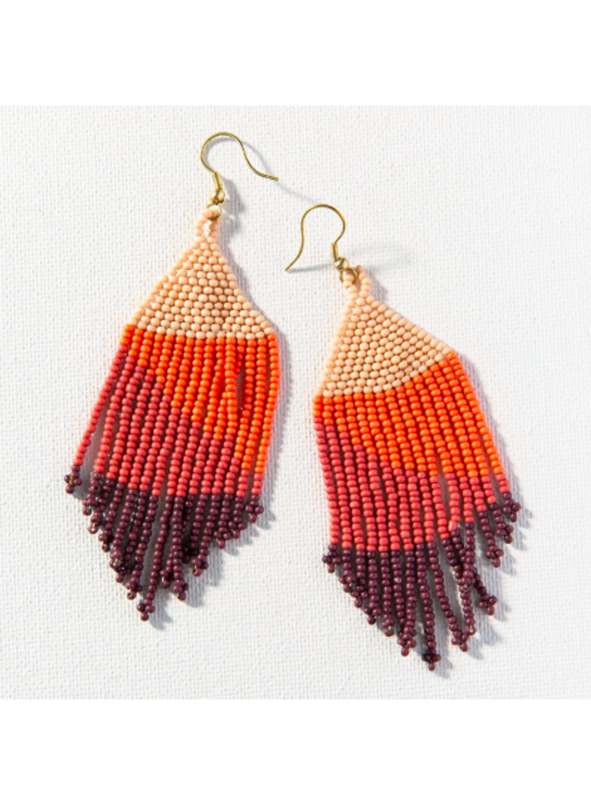 Ombre Fringe Earrings - Peach, Coral, Pink, Purple