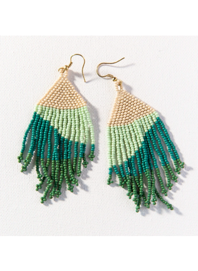 Ombre Fringe Earrings - Beige, Mint, Teal, Green