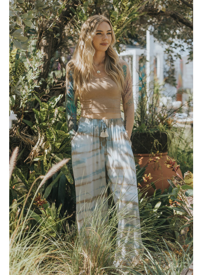 Blue, White, Brown Tie Dye  Pants w/ Crochet & Side Slit by Surf Gypsy