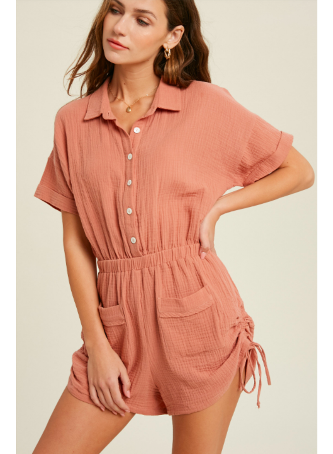Gauze Button Up Romper w/ Shirred Sides by Wishlist - Ginger