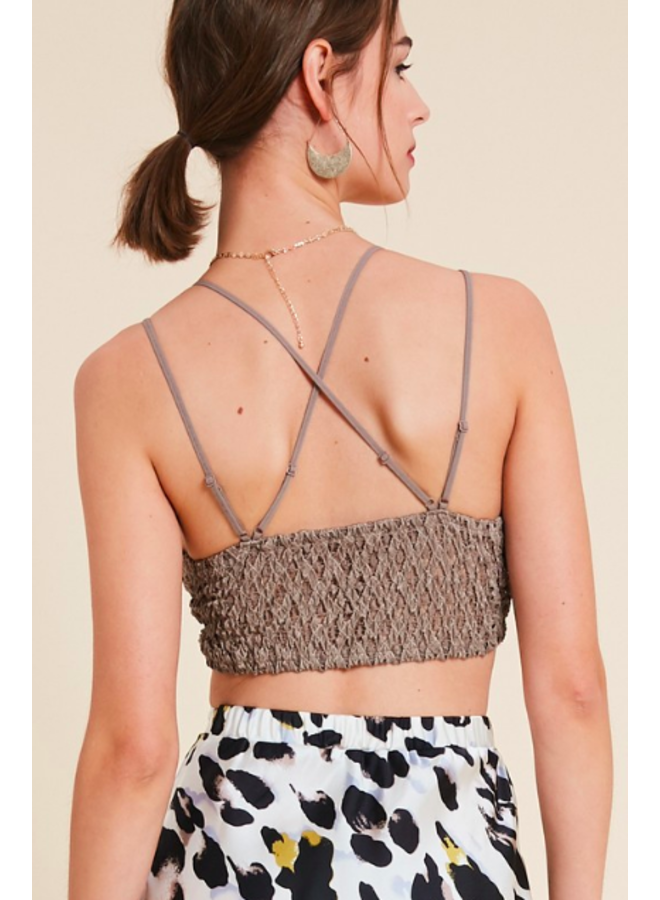 Strappy Lace Padded Bralette / Crop Top by Wishlist- Cocoa