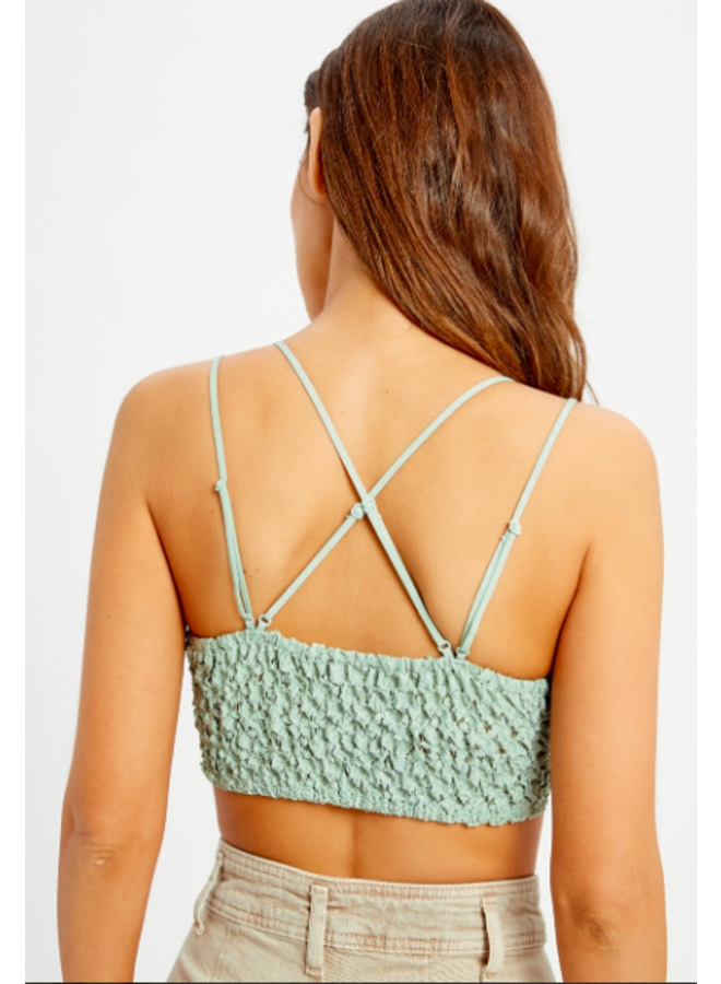 Strappy Lace Padded Bralette / Crop Top by Wishlist- Sage Green