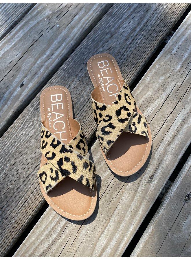 Leopard Criss Cross Sandals - Pebble