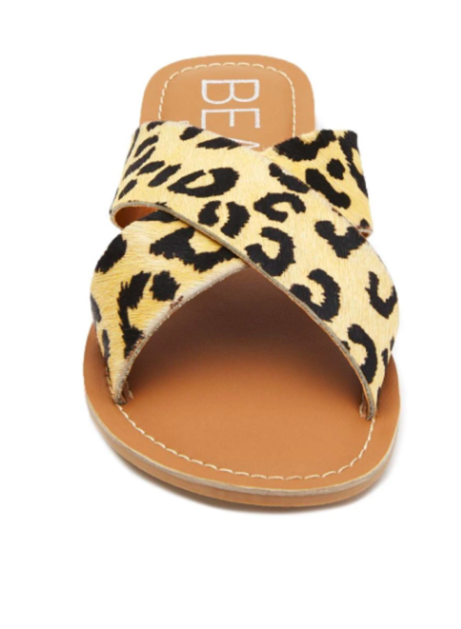 White Leopard Criss Cross Sandals - Pebble