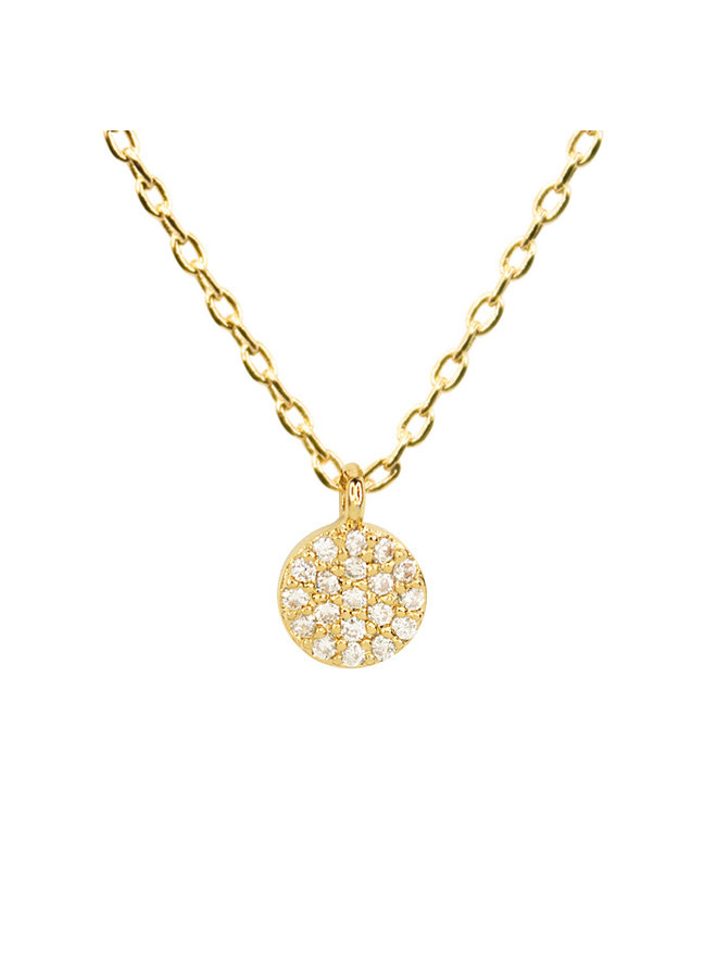 Dainty Round CZ Necklace - 14K Gold Dipped (Secret Box)a