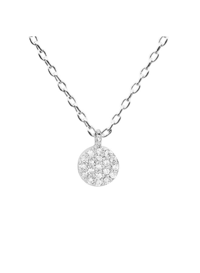 Dainty Round Necklace - 14K White Gold Dipped (Secret Box)