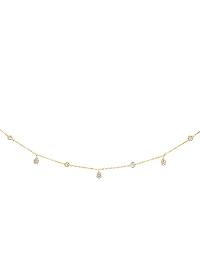 CZ Dangle Teardrop Choker Necklace - 14K Gold Dipped (Secret Box)
