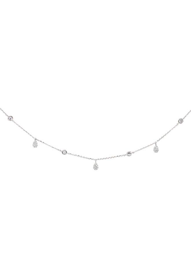 CZ Dangle Teardrop Choker Necklace - 24K White Gold Dipped (Secret Box)
