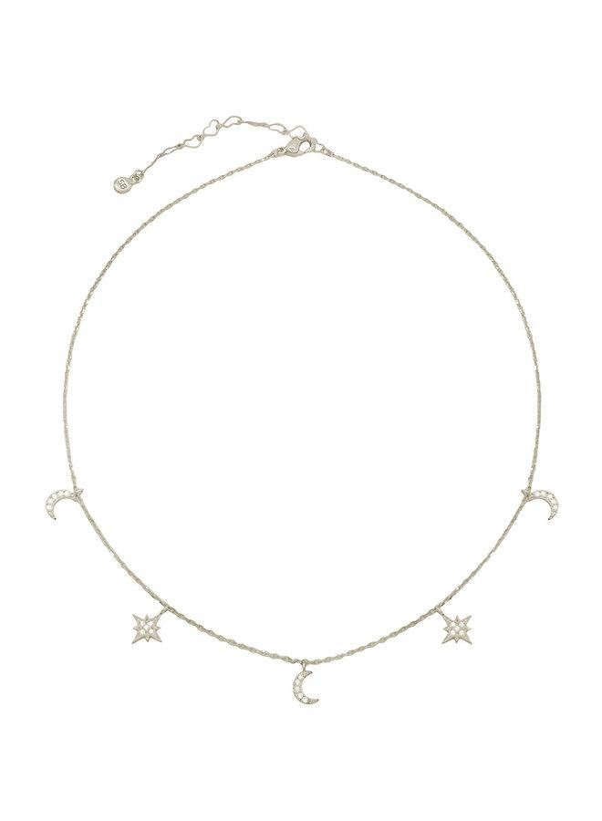 CZ Dangle Moon Choker Necklace - 24K White Gold Dipped (Secret Box)