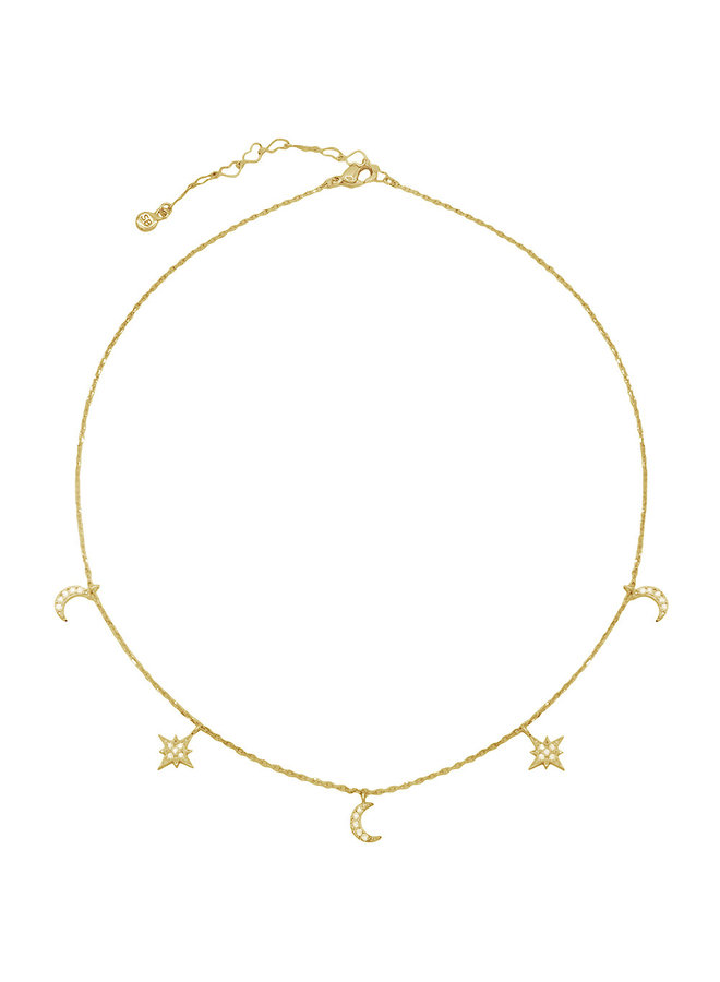 CZ Dangle Moon Choker Necklace - 14K Gold Dipped (Secret Box)