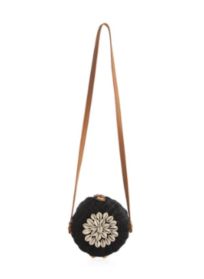 Bali Round Wicker Crossbody w/  Cowrie Shell Clutch - Black by Shiraleah