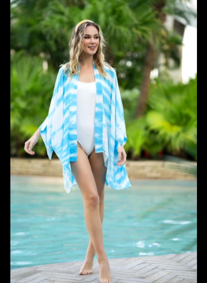 Tricia Kimono Cover Up - Aqua Tie Dye