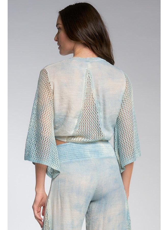Tie Front Top W/ Crochet Insert by Elan - Blue Tie Dye