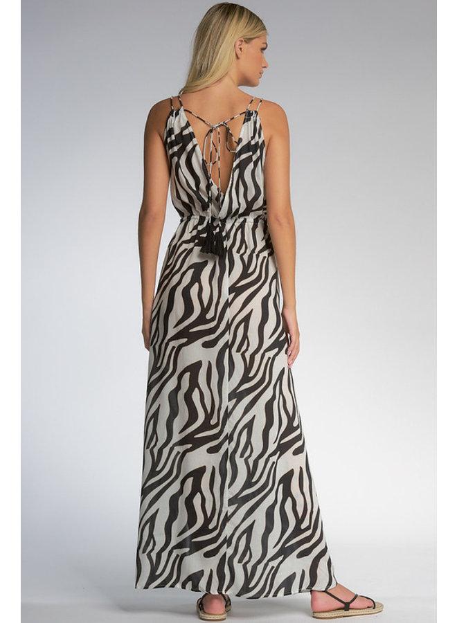 Sleeveless Maxi Dress w/ Tie Back by Elan - Zebra Jungle Print