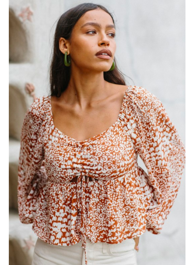 Long Sleeve Terracotta Floral Top - By Together