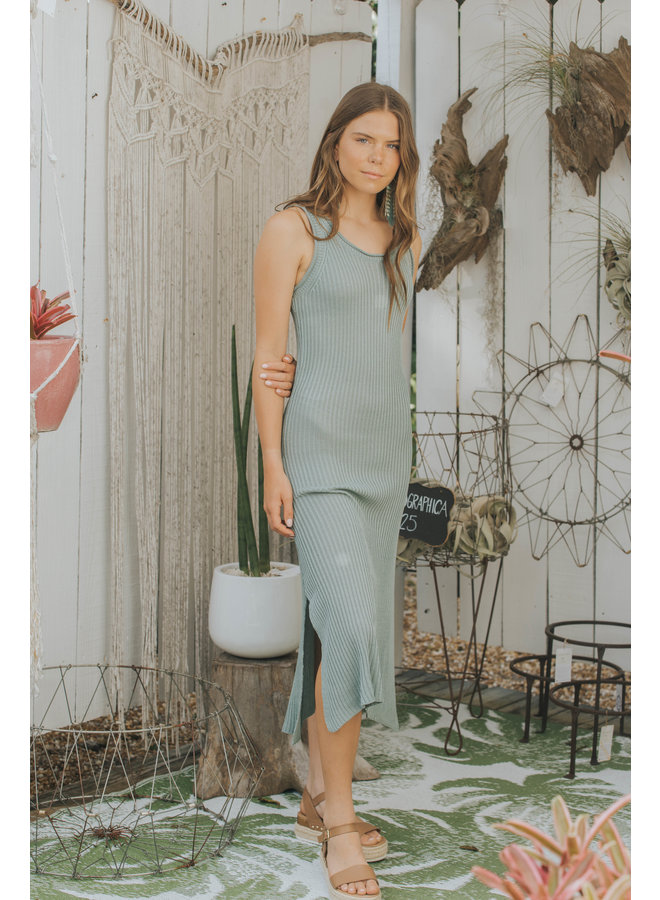 Sweater Knit Maxi Dress - Sage Green - By Together