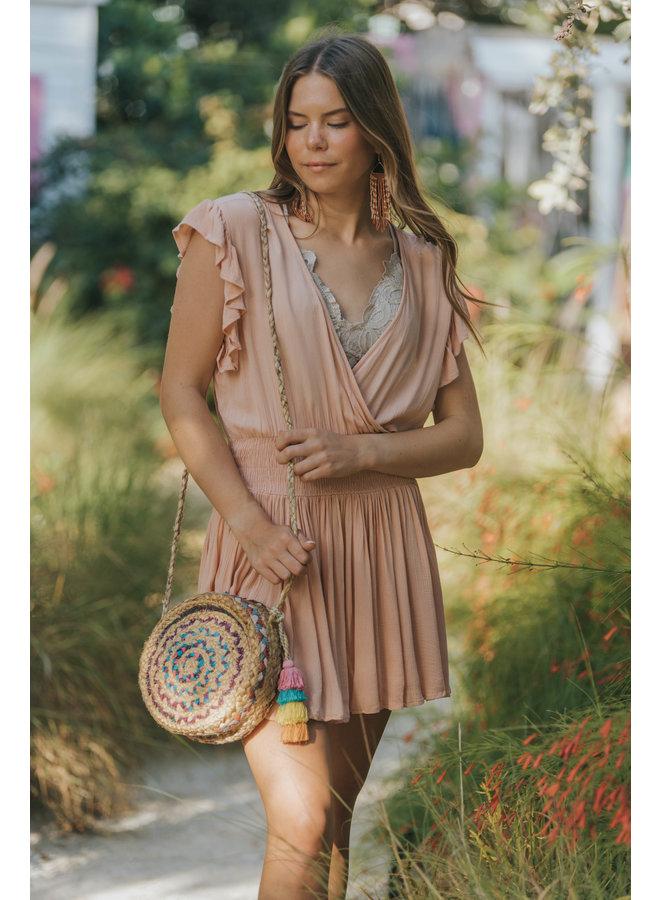 Short Gauze Dress w/ Smocked Waist by Elan - Melon