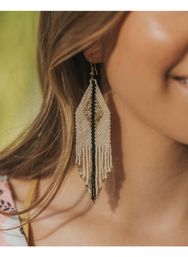 Ivory With Gold Diamond Fringe Earrings