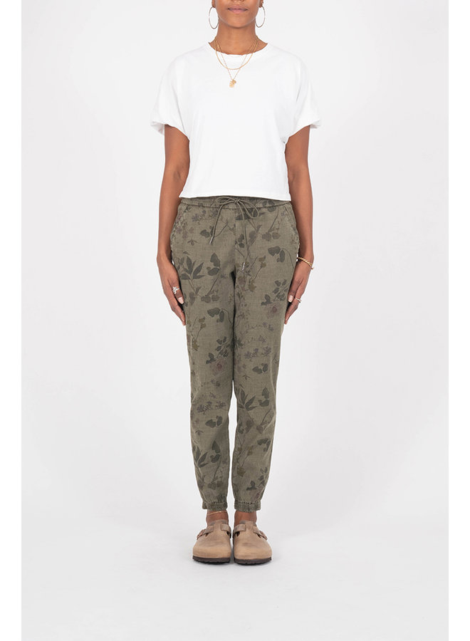 Everyday Drawstring Jogger - Olive Green Floral - by Level 99