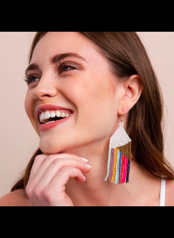 Seed Bead Fringe Earrings - White w/ Rainbow Stripe