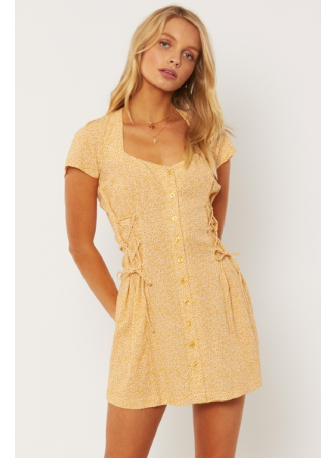 Rayne Woven Mini Dress - Yellow Floral