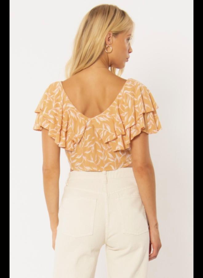 Find Your Light Crop Top w/ Ruffles  - Orange Floral