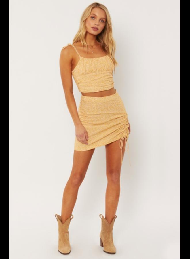 Celeste Woven Mini Skirt - Yellow Floral